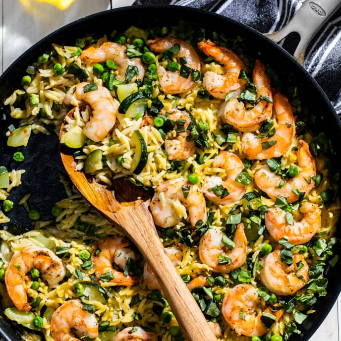 One-Pan Orzo with Shrimp and Zucchini