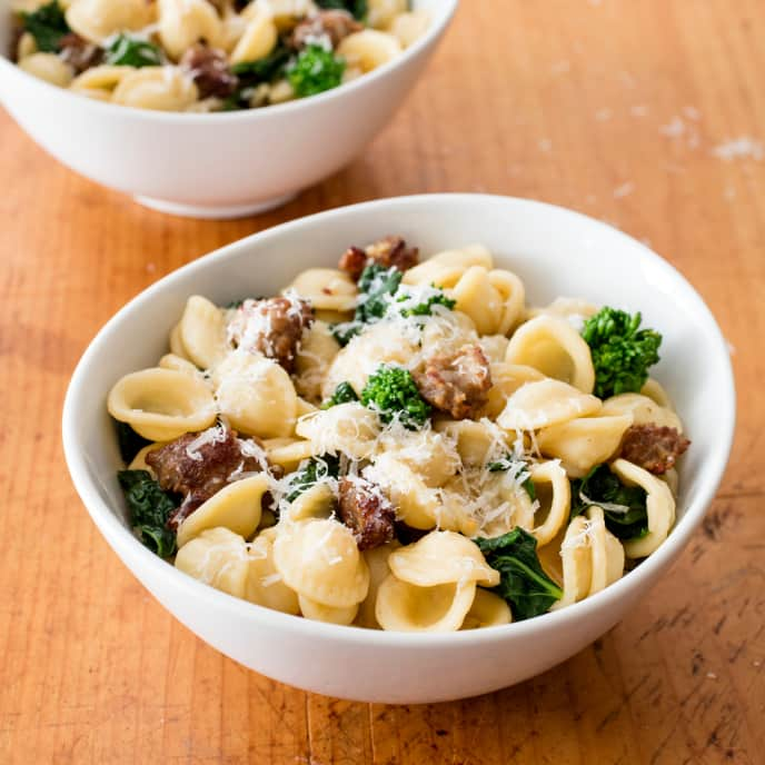 Orecchiette with Broccoli Rabe and Italian Sausage for Two