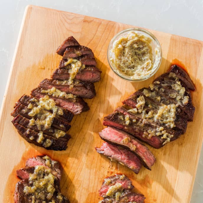 Pan-Seared Flank Steak with Sage-Shallot Compound Butter