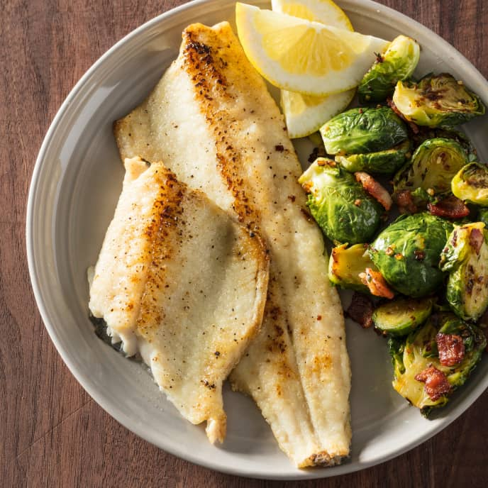 Pan-Seared Trout with Brussels Sprouts and Bacon