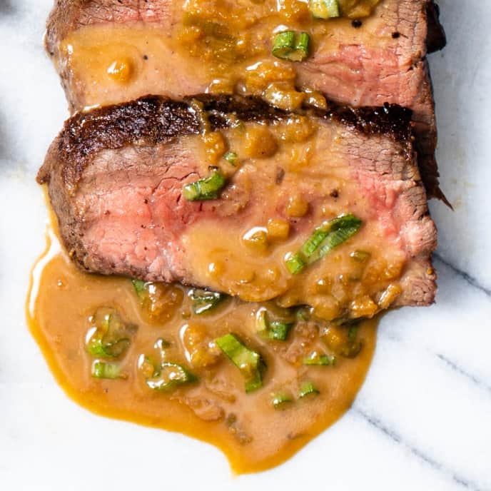 Pan-Seared Sirloin Steaks with Miso-Butter Pan Sauce
