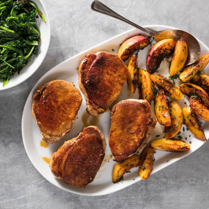 Pan-Seared Thick-Cut Boneless Pork Chops with Apples and Spinach