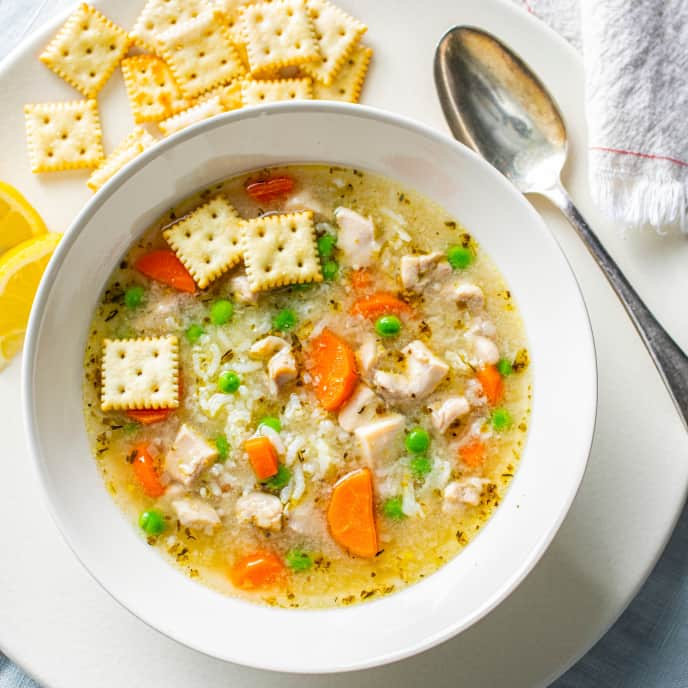 Pantry Garlicky Chicken and Rice Soup for One