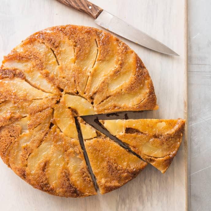 Pear Upside–Down Cake (Reduced Sugar)