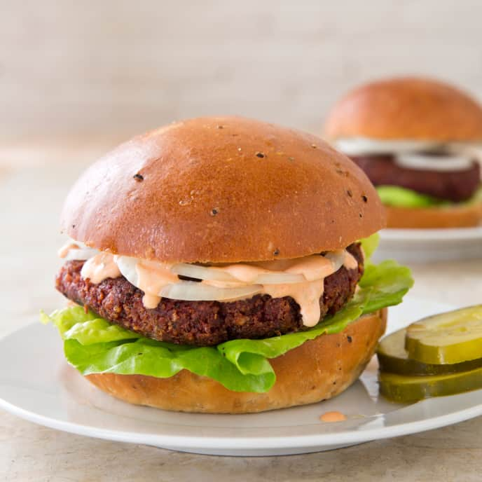 Pinto Bean, Beet, and Bulgur Burgers