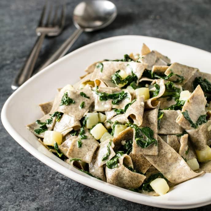 Buckwheat Pasta with Swiss Chard, Potatoes, and Taleggio