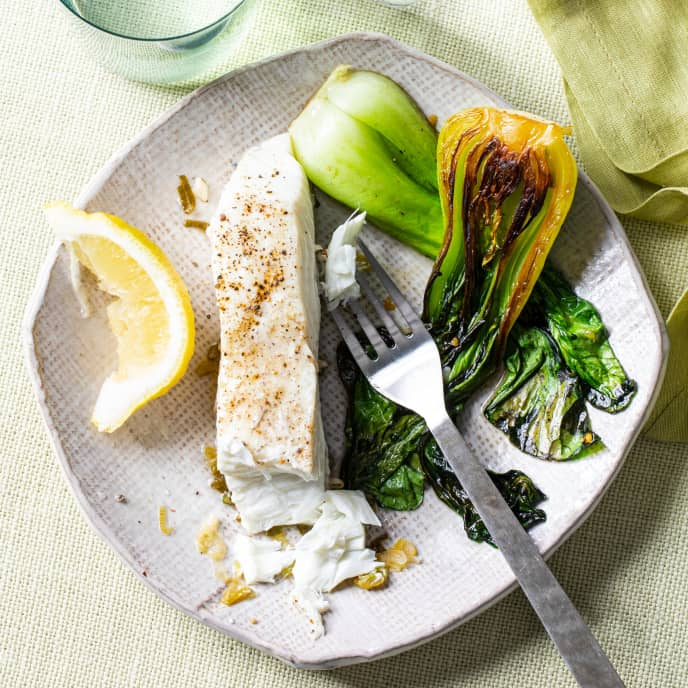 Lemony Poached Fish for One