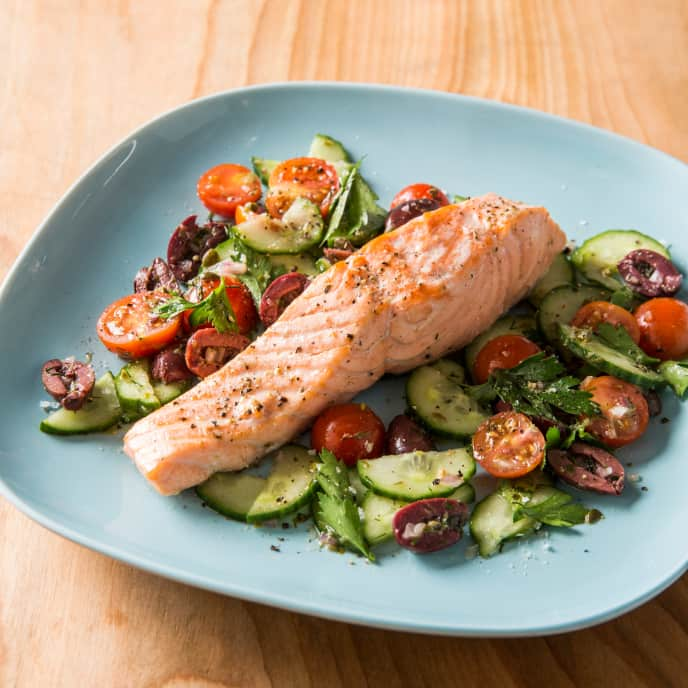 Pressure-Cooker Poached Salmon with Cucumber and Tomato Salad