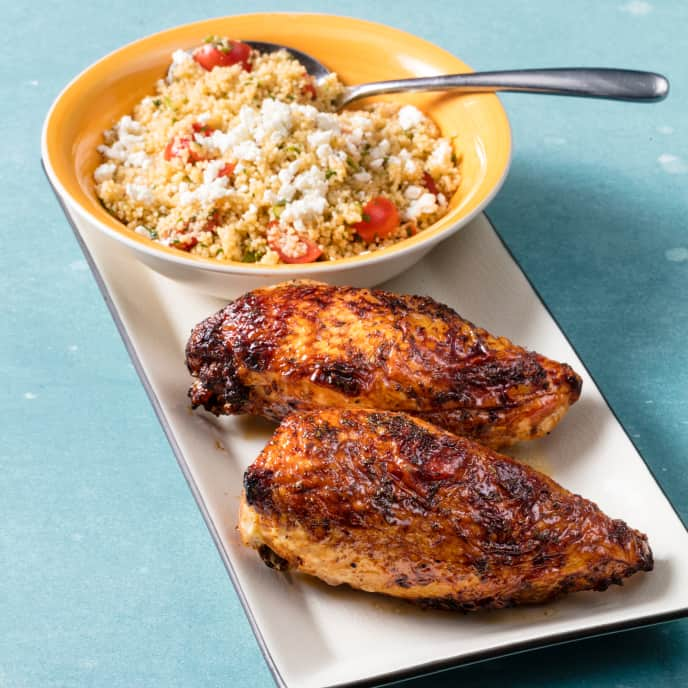 Air-Fryer Pomegranate Glazed Bone-in Chicken Breasts with Couscous Salad