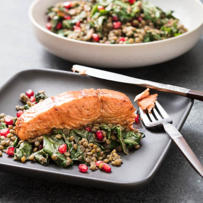 Pomegranate Roasted Salmon with Lentils and Chard