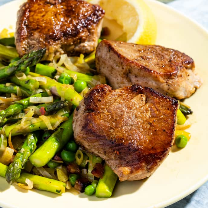 Pork Medallions with Sautéed Asparagus and Peas