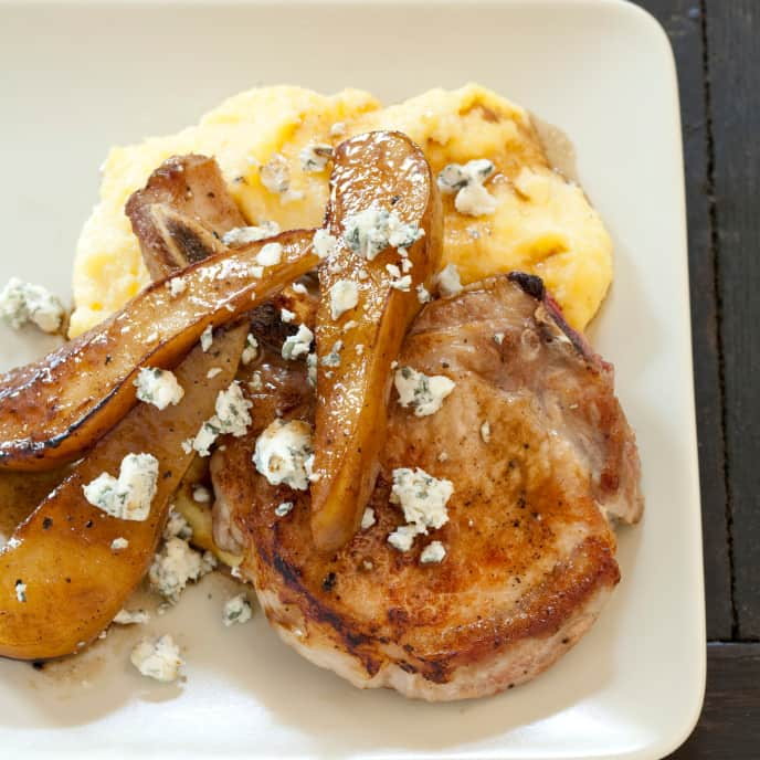 Sauteed Pork Chops with Pears and Blue Cheese for Two