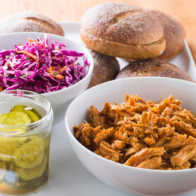 Pulled BBQ Turkey with Red Cabbage Slaw