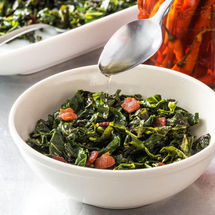 Quick Collard Greens with Hot Pepper Vinegar