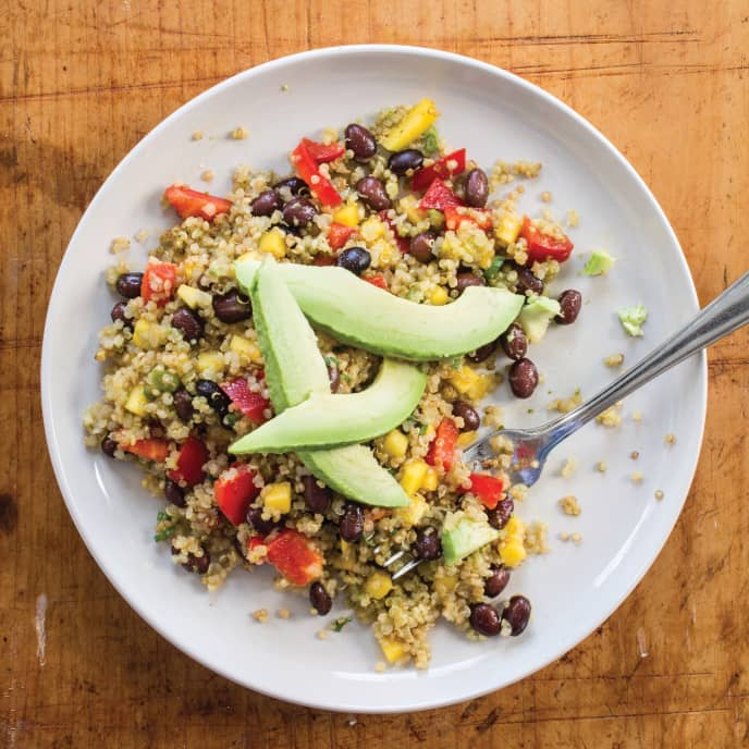 Vegan Quinoa, Black Bean, and Mango Salad with Lime Dressing