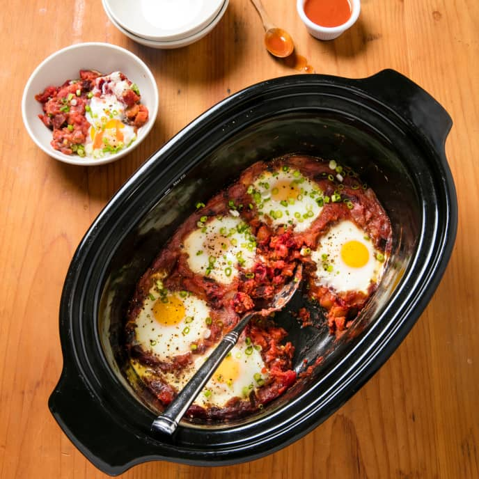 Slow-Cooker Red Flannel Hash With Poached Eggs