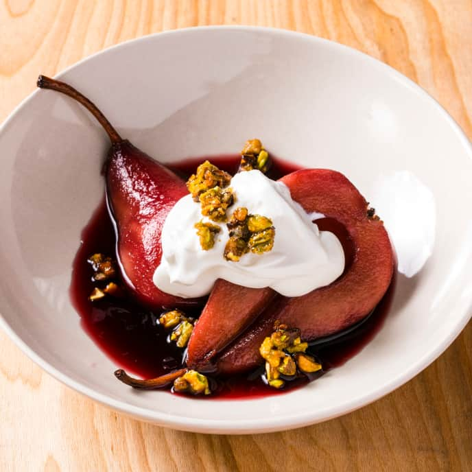Sous Vide Red Wine-Poached Pears with Whipped Sour Cream and Candied Pistachios