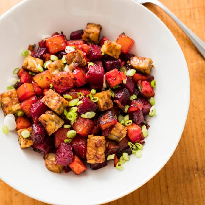 Vegan Sweet Potato Red Flannel Hash with Tempeh
