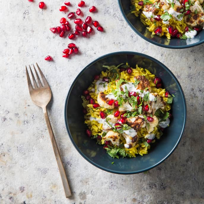 Vegan Basmati Rice Bowl with Spiced Cauliflower and Pomegranates