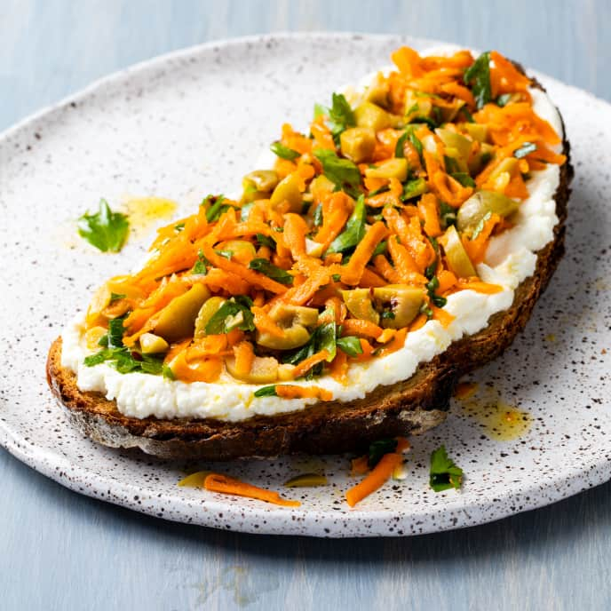 Ricotta Bruschetta with Carrot and Olive Salad