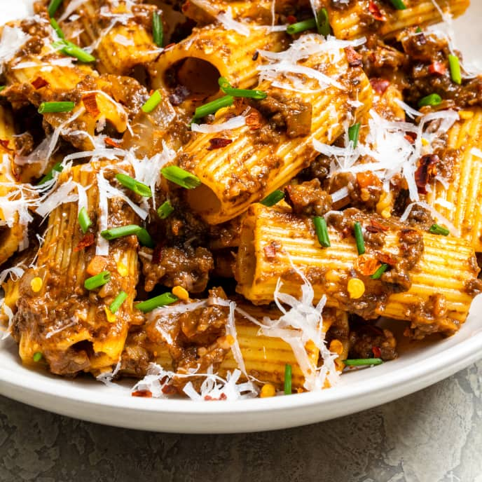 Rigatoni with Quick Mushroom Bolognese