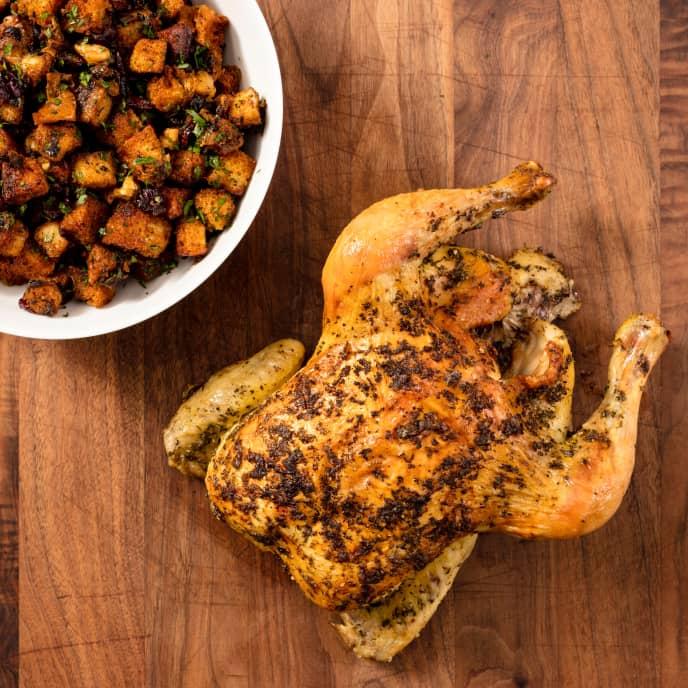 Roast Chicken with Cranberry-Walnut Stuffing