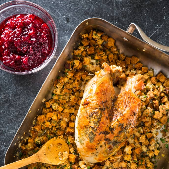 One-Pan Roast Turkey Breast with Herb Stuffing and Cranberry Sauce