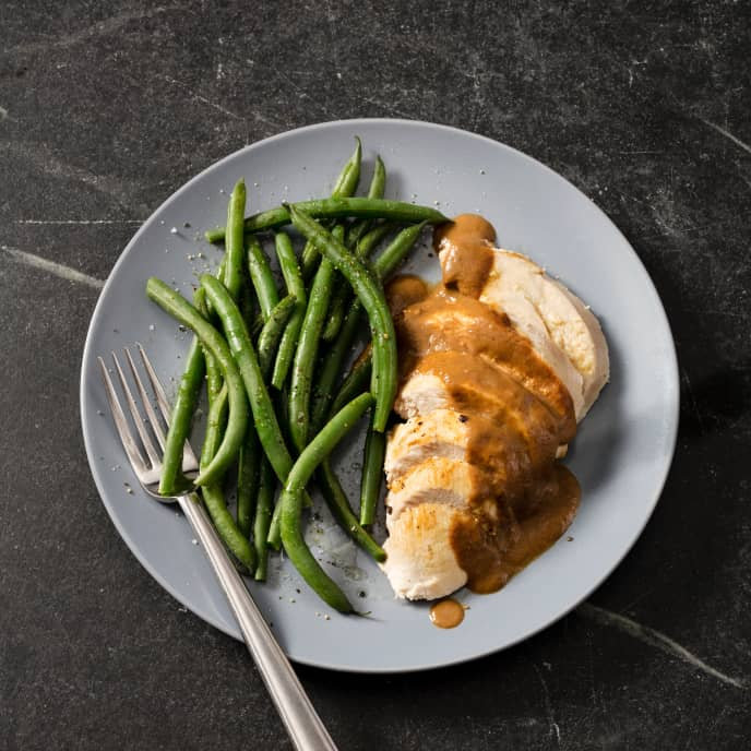 Roast Turkey Breast with Shallot-Porcini Gravy