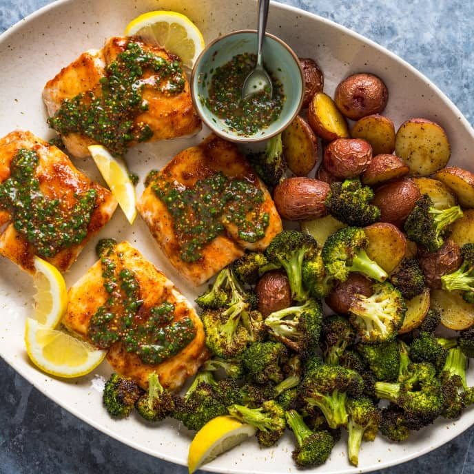 Roasted Snapper and Vegetables with Mustard Sauce