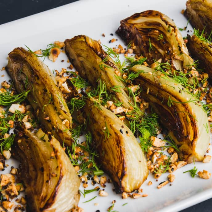 Roasted Fennel with Spiced Cashews