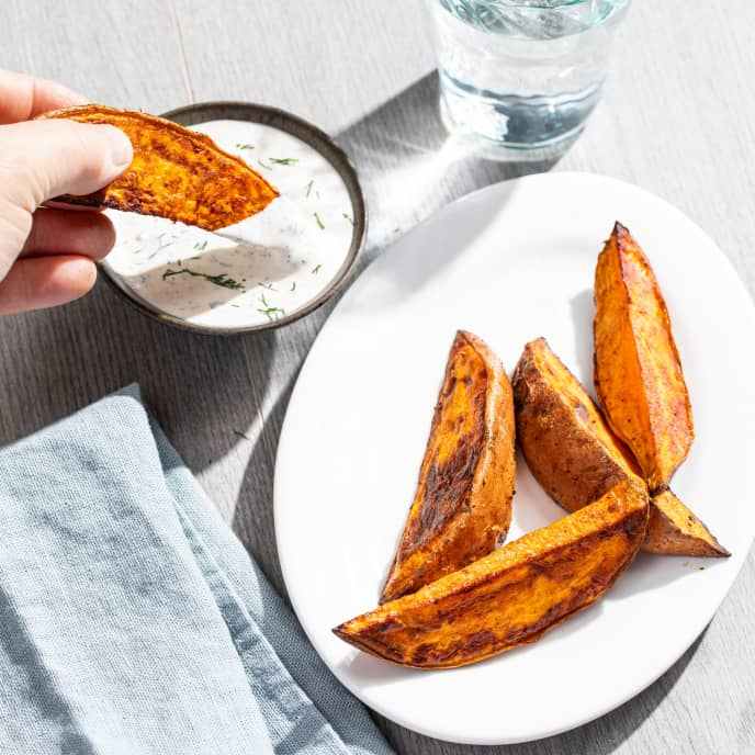 Roasted Sweet Potato Wedges for One