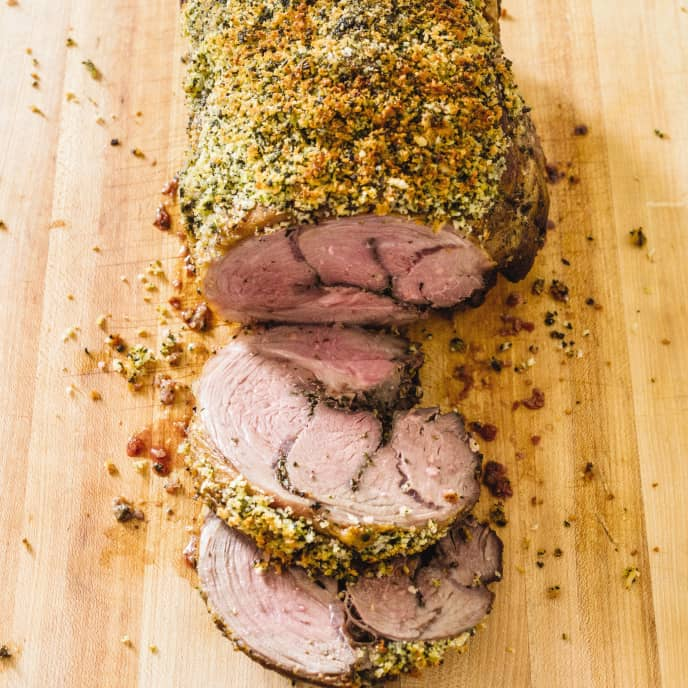 Cast Iron Roasted Boneless Leg of Lamb with Herbed Bread-Crumb Crust