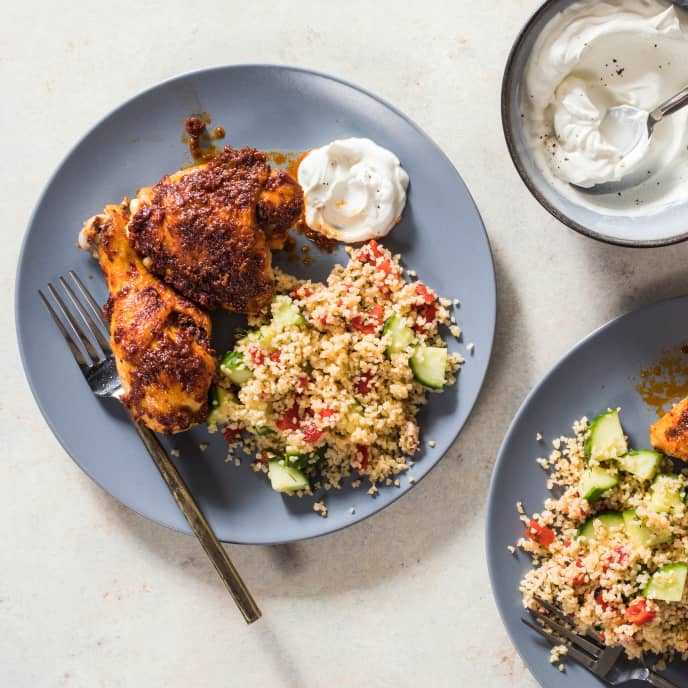 Roasted Chicken with Harissa and Bulgur
