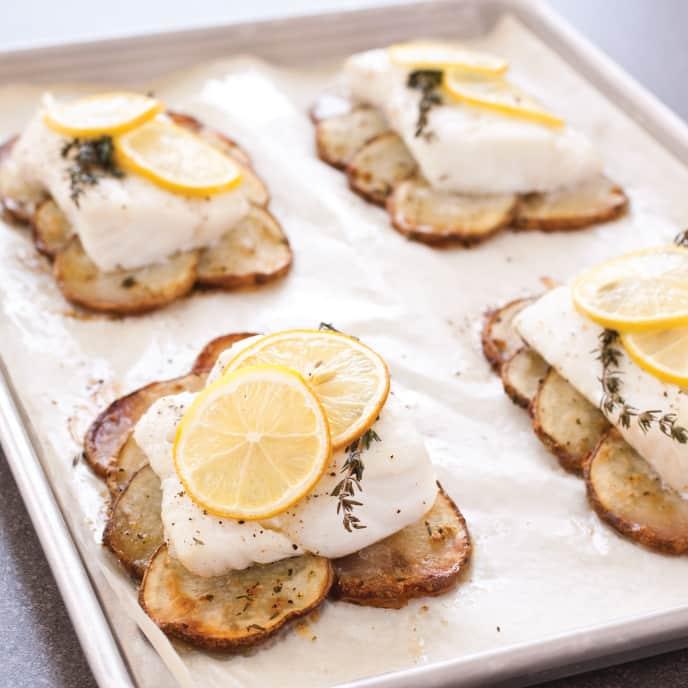 Sheet-Pan Lemon-Herb Cod Fillets with Crispy Garlic Potatoes