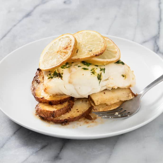 Air-Fryer Roasted Cod with Lemon-Garlic Potato Galette