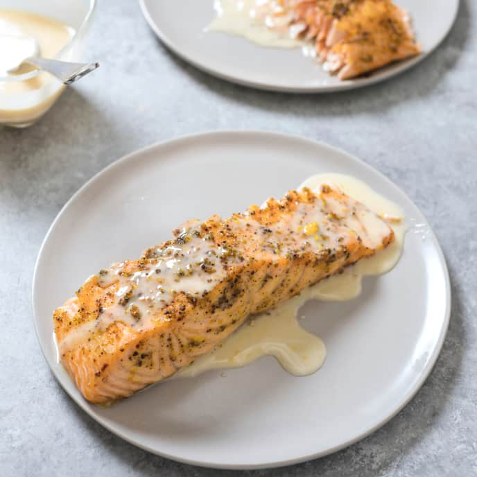 Juniper and Fennel-Rubbed Roast Side of Salmon with Orange Beurre Blanc