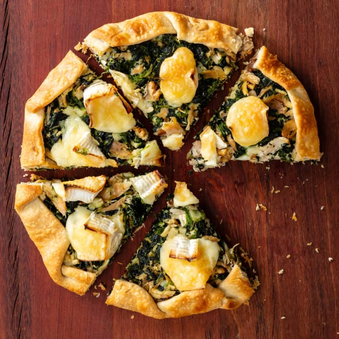 Rustic Chicken Tart with Spinach and Brie