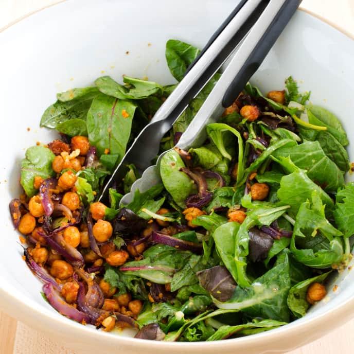 Salad with Crispy Spiced Chickpeas and Honey-Mustard Vinaigrette