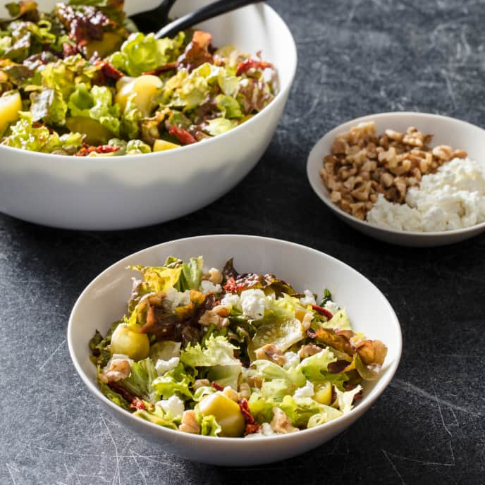 Salad with Pickled Tomatillos, Sun-Dried Tomatoes, and Goat Cheese