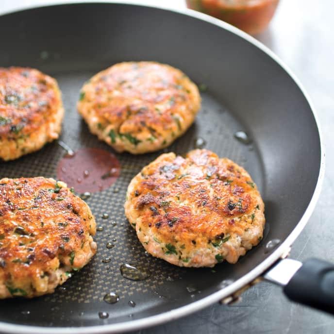 Crispy Salmon Burgers with Tomato Chutney