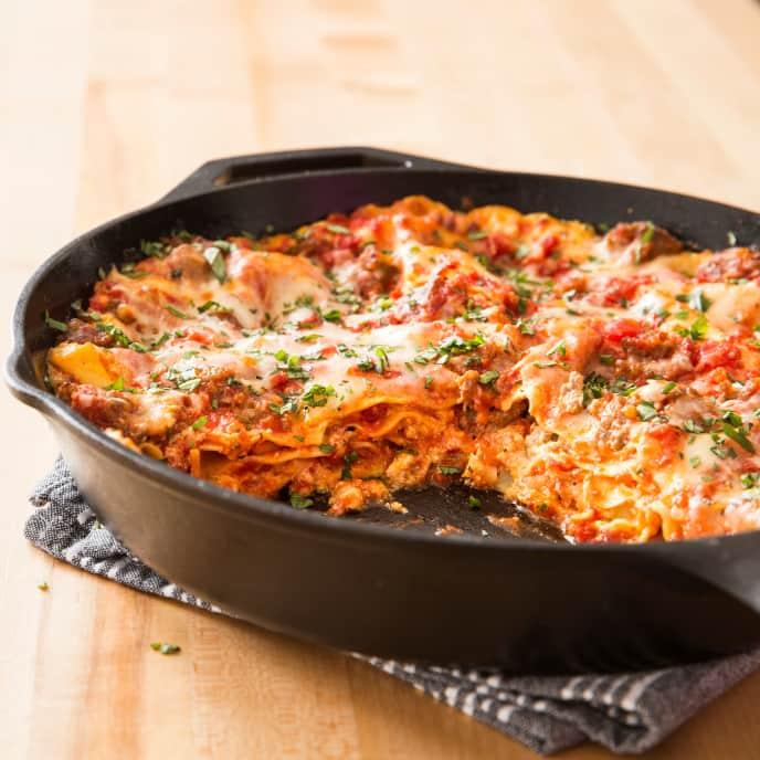 Cast-Iron Skillet Sausage Lasagna