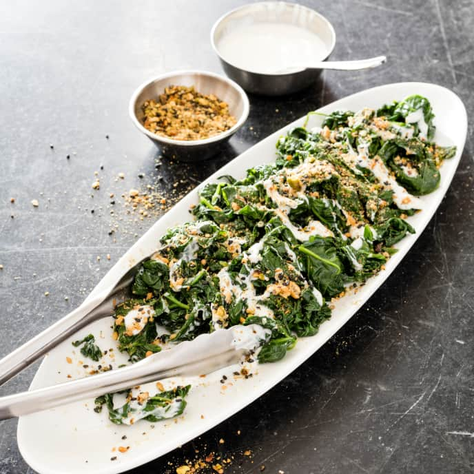 Sautéed Spinach with Yogurt and Dukkah