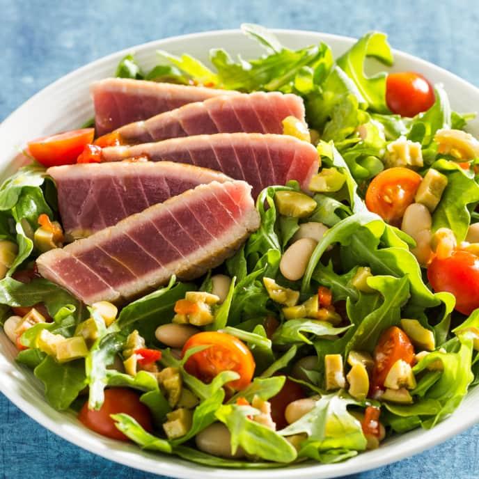 Seared Tuna Salad with Olive Dressing