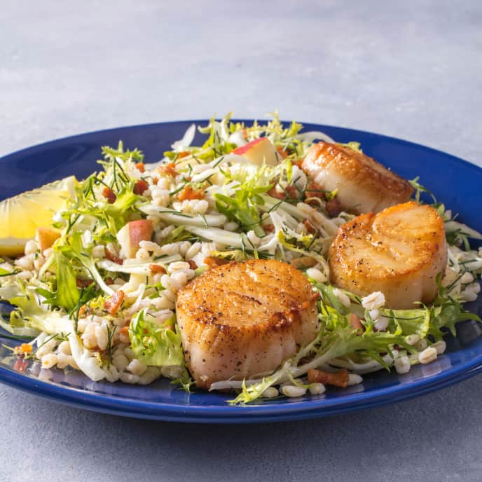 Seared Scallops with Warm Barley Salad