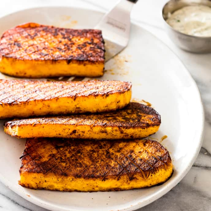 Vegan Chile-Rubbed Butternut Squash Steaks with Ranch Dressing