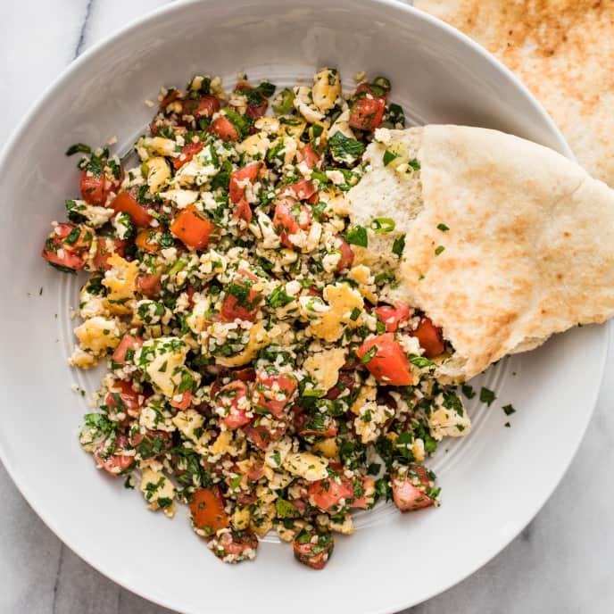 Vegan Garlicky Tofu Tabbouleh