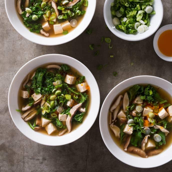 Shiitake, Tofu, and Mustard Greens Soup