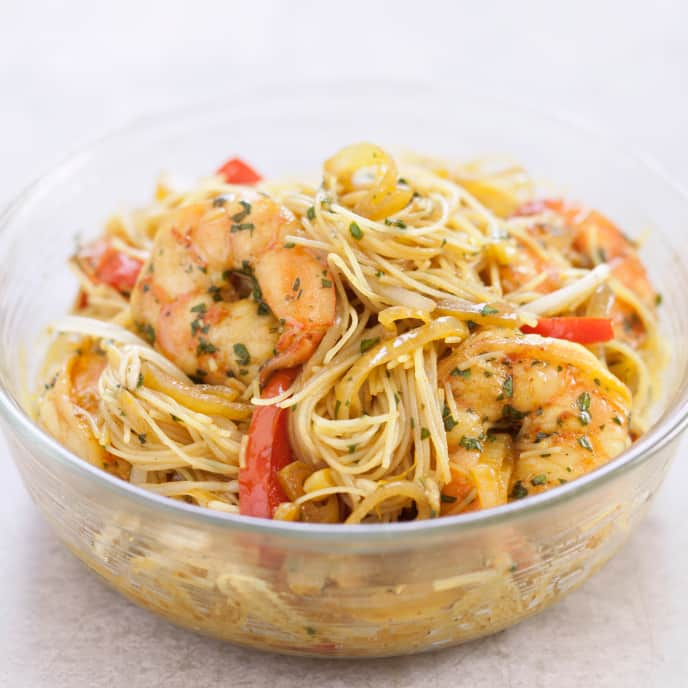 Gluten-Free Singapore Noodles with Shrimp