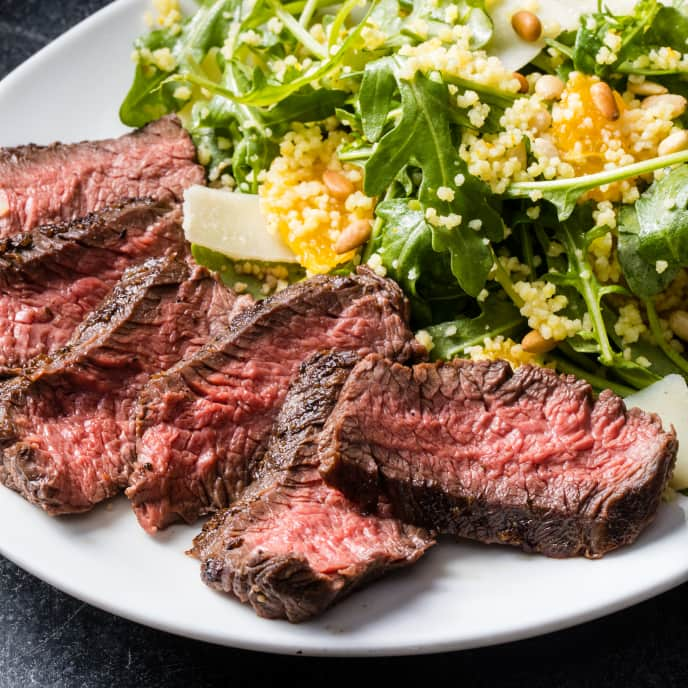 Sirloin Steak with Arugula-Couscous Salad