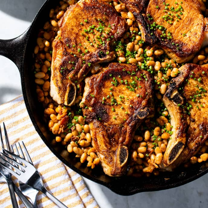 Cast Iron Pork Chops and Barbecue Beans